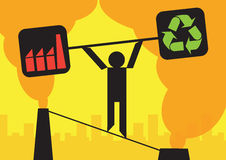 Industry Environment Balance. A person walking a tightrope between chimney's, trying to balance the weights of industry and the environment vector illustration