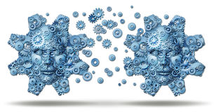 Industry Exchange. And business collaboration working together for financial success connection as two large gears made of a networking group of smaller cogs Stock Image