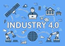 Industry 4.0 flat line concept. Digital environment. Infographic flat vector illustration on blue background. Horizontal royalty free illustration