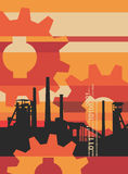 Industry_factory_background. Industry background with a factory and gears. Vector illustration