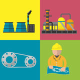 Industry Factory Flat Icon Set Vector Stock Images