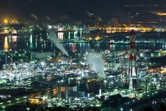 Industry factory in Japan at night Royalty Free Stock Photo