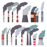 Industry factory vector industrial chimney pollution with smoke in environment illustration set of chimneyed pipe. Factory with toxic air isolated on white vector illustration