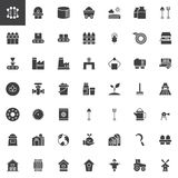 Industry and farming vector icons set. Modern solid symbol collection, filled style pictogram pack. Signs, logo illustration. Set includes icons as windmill vector illustration