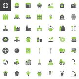Industry and farming vector icons set. Solid bicolor symbol collection, filled style pictogram pack. Signs, logo illustration. Set includes icons as windmill vector illustration