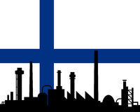 Industry and flag of Finland. Detailed and accurate illustration of industry and flag of Finland Stock Image
