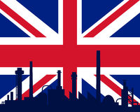 Industry and flag of Great Britain. Detailed and accurate illustration of industry and flag of Great Britain Royalty Free Stock Photography