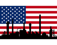Industry and flag of USA Royalty Free Stock Photo