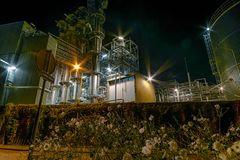 Industry and Flowers at Night stock images