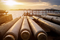 Industry gasoil pipeline construction Royalty Free Stock Photo