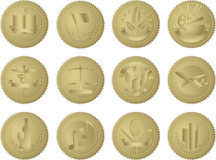 Industry Gold Seals. This is a set of 12 unique gold document seals, designed for a variety of industries. Each seal is isolated, grouped, labeled, and on an Stock Image