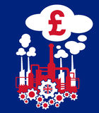 Industry of Great Britain. Factory in the colors of flag of France as metaphor of French industry and its financial profit or crisis expressed as income of euro vector illustration