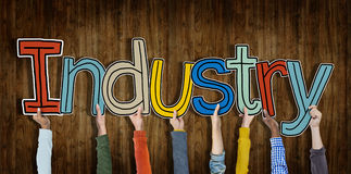 Industry Hands Holding Single Word Concept Royalty Free Stock Images