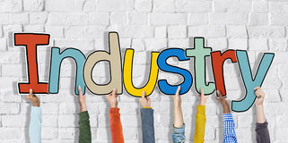 Industry Hands Holding Single Word Concepts Stock Photography
