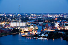Industry and harbor night. Harbor industrial area - hamburg cityscape at night Royalty Free Stock Image