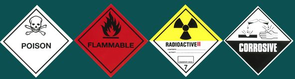Industry - Hazard Warning Signs. Poison, Flammable, Radioactive and Corrosive stock images