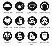 Industry health and safety protection equipment icons. Vector set of equipment for protection health, illustration equipment for industry construction stock illustration