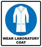 Industry health and safety protection equipment icons. Wear laboratory coat sign. Industry health and safety protection equipment icon. Protective clothing must royalty free illustration