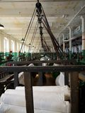 Industry: historic cotton mill looms Royalty Free Stock Photos