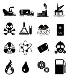 Industry Icon Set. Set of black oil industry related icons Stock Photo