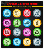 Industry icon set. Industry crystal color icons for your design Stock Photo