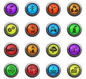 Industry icon set. Industry icons on color round glass buttons for your design Stock Photo