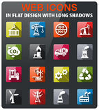 Industry icon set. Industry icons set in flat design with long shadow Royalty Free Stock Photo