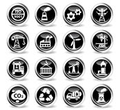 Industry icon set. Industry icons on stylish round chromed buttons Stock Photography