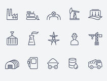 Industry icon set. Thin lines. Flat design Stock Photography