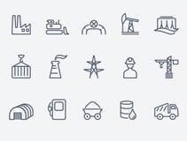 Industry icon set. Thin lines. Flat design stock illustration