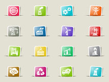 Industry icon set. Industry web icons on color paper bookmarks Royalty Free Stock Photography