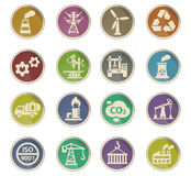 Industry icon set. Industry web icons on color paper labels Royalty Free Stock Images