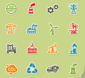 Industry icon set. Industry web icons on color paper stickers for user interface Royalty Free Stock Photo