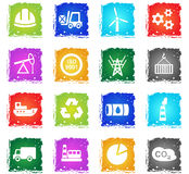Industry icon set. Industry web icons in grunge style for user interface design Stock Photography
