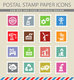 Industry icon set. Industry web icons on the postage stamps Royalty Free Stock Photography