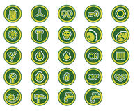 Industry icons. Icons with theme of industry in green colour (EPS and JPG formats Royalty Free Stock Photos