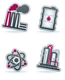 Industry Icons. Industry & Heavy industry icons set, pictured here from left to right: Factory, Barrel of oil, Nuclear power plant, Chemical plant. Vector icons stock illustration