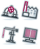 Industry Icons. Industry & Heavy industry icons set, pictured here from left to right: Oil pipe, Production Mill, Crane, Solar panels. Vector icons set saved as vector illustration