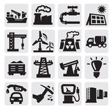 Industry icons. Vector black industry icons set on gray Stock Photo