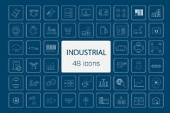 48 industry icons. On blue background vector illustration stock illustration