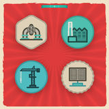 Industry Icons. Industry & Heavy industry icons set, pictured here from left to right Royalty Free Stock Image
