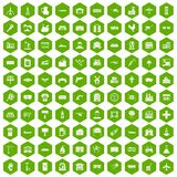 100 industry icons hexagon green. 100 industry icons set in green hexagon isolated vector illustration Royalty Free Stock Photography