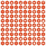 100 industry icons hexagon orange. 100 industry icons set in orange hexagon isolated vector illustration Stock Photos