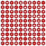 100 industry icons hexagon red. 100 industry icons set in red hexagon isolated vector illustration Stock Images