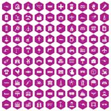 100 industry icons hexagon violet. 100 industry icons set in violet hexagon isolated vector illustration Royalty Free Stock Photos