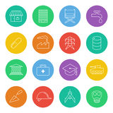 Industry-icons-1. A mono-line icon set of various industry sectors royalty free illustration