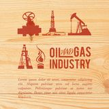 Industry icons pained over wood. Royalty Free Stock Images