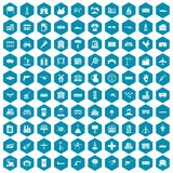100 industry icons sapphirine violet. 100 industry icons set in sapphirine hexagon isolated vector illustration royalty free illustration