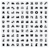 Industry icons set. Vector black industry icons set on gray vector illustration