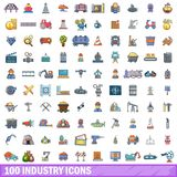 100 industry icons set, cartoon style Royalty Free Stock Images